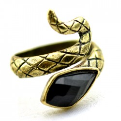 Punk New Black Gem Cobra Ring