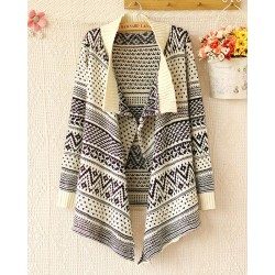 Elegant Geometry Printed Irregular Sleeved Sweater&Cardigan