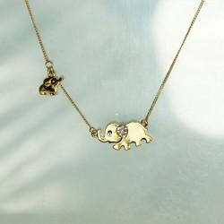 Cute Mother Elephant Baby Elephant Blue Eyes Diamond Ear Pendant Necklace