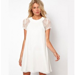 Lace Sleeve Rip Back Chiffon Dress