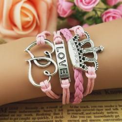 Love Heart Crown Weave Infinity Bracelet