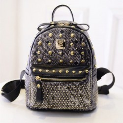 New Punk Gray Crocodile Rivet School Backpack
