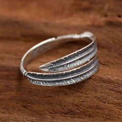 Unique Retro Personalized Feather Open Couple Ring