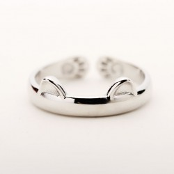 Cute Cat Ears Catlike Embossing Animals Silver Matte Brief Opening Ring