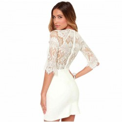 Eyelash Lace Stitching Sexy See-through Back Middle-length Sleeves Dress