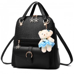Casual Embossing Backpack Flower Zipper Bear Solid Color Handbag