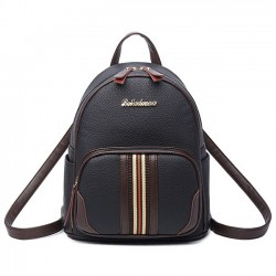 Elegant Mini Contrast Color Stripe Black Soft PU Backpack