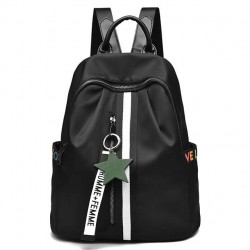 Fashion Black White Stripe Oxford School Star Decor Backpack