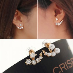 Sweet Diamond Anchor Pearl Anchor Earrings