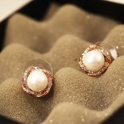Shining Delicate Pearl Rhinestone Geometry Women Stud Earrings