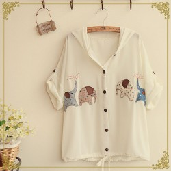 Cute Embroidery Elephant patches Hooded Flip Cuff Loose Chiffon Shirt