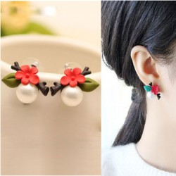 Original Shell Pearl Flower Leaves Twig Resin Cute Earrings