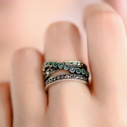 Vintage Double Row Green Crystal Rings