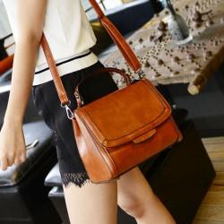 Vintage Pure Color Handbag Messenger Bag Shoulder Bag