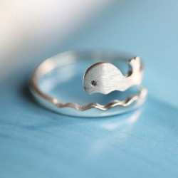 Cute Dolphin Silver Ring Frosted Ocean Style Vivid Whale Wave Open Ring