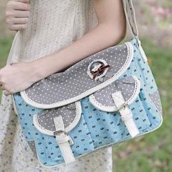 Cute Bear Dots Canvas Bag Messenger Bag
