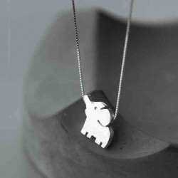 Cute Elephant Pendant Unique Girl Friend's Gift Silver Animal Necklace