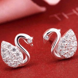 Shining Jewelry Swan Inlay Diamond Elegant Silver Earrings