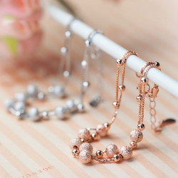 Lady Matte Rose Gold Plated Beaded Double Silver Chain Bracelets