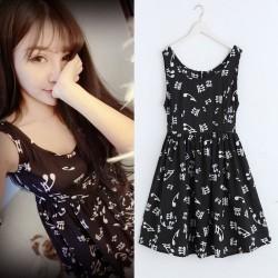 Sweet Black White Music Notes Sleeveless Vest Elastic Waist Dress