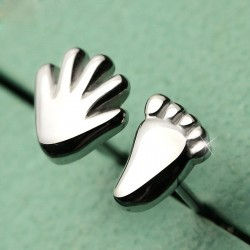 Funny Five Hand And Foot Sterling Silver Cute Asymmetrical Earrings