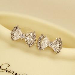 Fashion Zircon Rhinestone Bow Stud Earrings