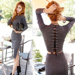 Slim Tight Collar Long-sleeved Package Hip Sexy Nightclub Skirt
