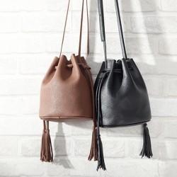 Casual Solid Simple Tassel Drawstring Bucket Bag Messenger Bag Shoulder Bag