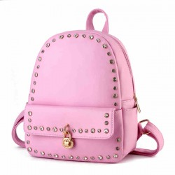 Punk Pink Solid Crystal Rivet Rucksack Travel School Backpack