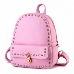 Punk Pink Solid Crystal Rivet Rucksack Travel School Backpack