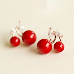 Cute Cherry Pearl 925 Silver Ear Clips/ Studs