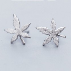 Quaint Girl's Simple Maple Leaf Brushed Silver Mini Retro Earring Studs