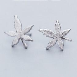 Quaint Girl's Simple Maple Leaf Brushed Silver Mini Retro Earring Studs
