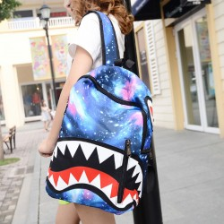 Harajuku Galaxy Minion National Flag Cartoon Shark Teeth College Backpack