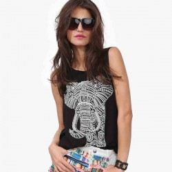 Fashion Elephant Print Casual Loose Round Neck Vest
