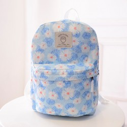 Fresh Floral White Chrysanthemum Printed Canvas Travel Backpack School Bag