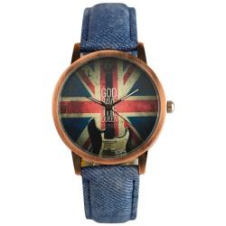 UK Flag Denim Pattern Strap Vintage Watch