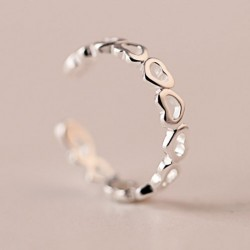 Cute Hollow Heart-Shaped Tail Open Silver Ring