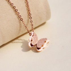 Cute Frosted Butterfly Pendant Necklace
