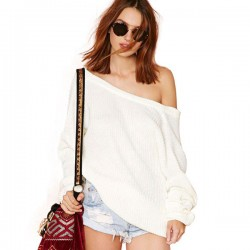 Snow White Bubble Sleeve Deep V Back Off Shoulder Sweater