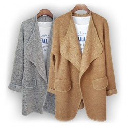 Large Lapel Simple Solid Cardigan Rolled Sleeve Long Sweater
