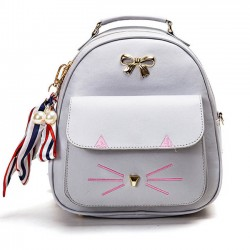 Cute Cartoon Kitty Metal Bow Cat Embroidery Animal School Backpack