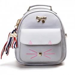 Cute Cartoon Kitty Metal Bow Cat Embroidery Animal School Backpack