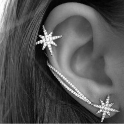 Fashion Winky Diamond Snowflake Chain Asymmetrical Ear Clips Earrings