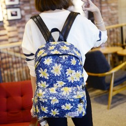 Fresh Printing Chrysanthemum Butterfly Denim Backpack