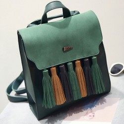 Retro British PU Tassel Contrast Color Flap Solid School Backpack