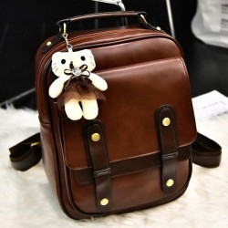 Retro Zipper Flap Splicing Belt Metal Lock Brown Black Square PU Backpack