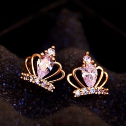 Noble Winky Princess' Silver Diamond Crown Earrings