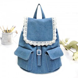 Lace Denim Cute Mini College Grils Backpacks