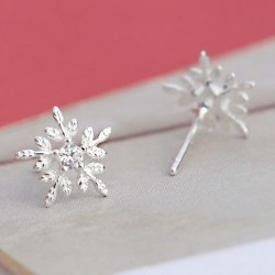 Shining Christmas Style Snowflake Embossed Crystal Mini Silver Girl's Cute Earring Studs